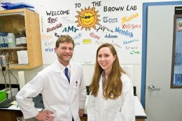 Ph.D. student Renee Albers with Thomas Brown, vice chair for research in the Department of Neuroscience, Cell Biology and Physiology.